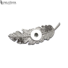 New Silver Leaves Feather 18mm Snap Button Hair Clips 003 Barrettes Charms Fashion Jewelry For Women Girl Teenagers Gift