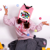 Halloween TV Set Head Mask DIY Paper Masks Party Masquerade Cosplay Masque Creative Funny Mascara Carnaval Prop Decortion Masker