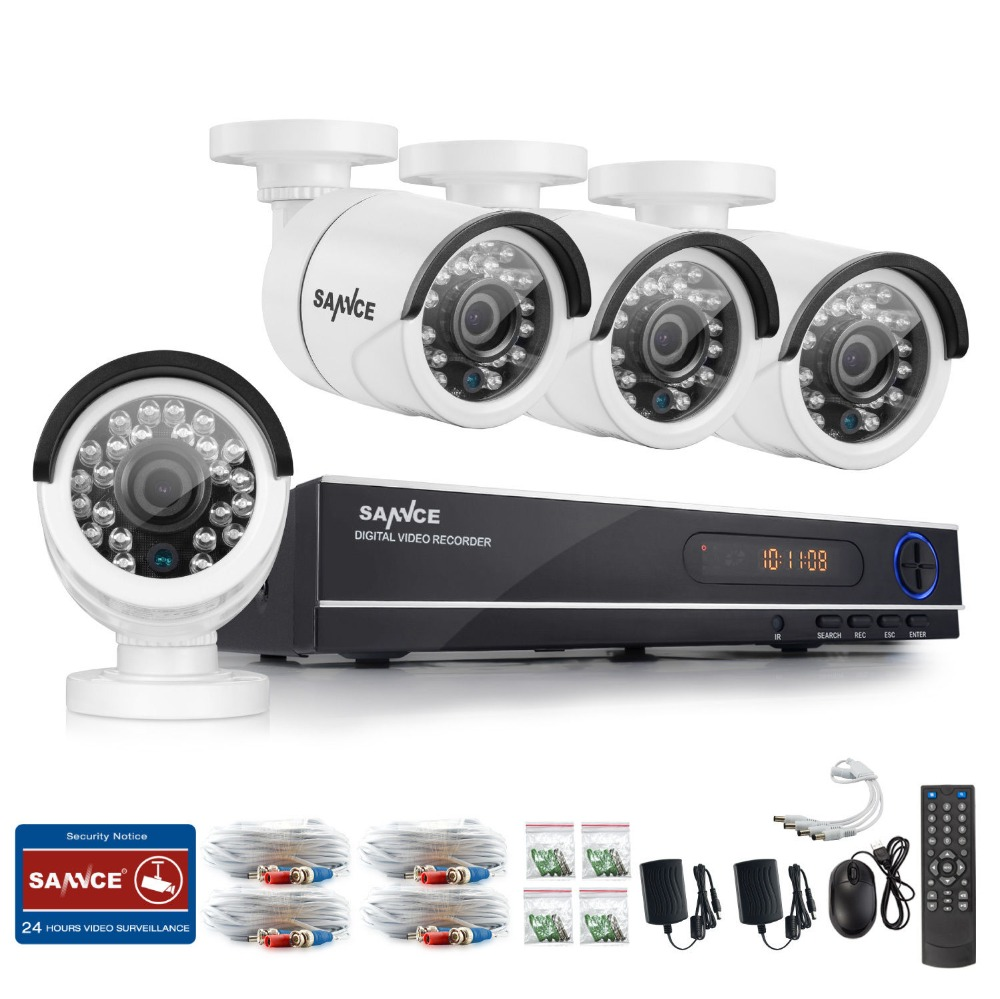 SANNCE 8CH CCTV Security System HD 1080N AHD DVR 4PCS 720P IR outdoor CCTV Camera System 8 Channel Video Surveillance Kit sannce cctv system 720p 8ch hd security dvr kit outdoor ir night vision ahd camera kit home security surveillance system 1tb hdd