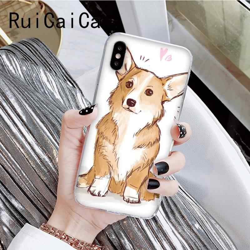 RuiCaiCa Welsh corgi แฟชั่นน่ารักการ์ตูนรูปแบบโทรศัพท์กรณีสำหรับ iPhone X XSMAX 6 6S 7 7plus 8 8Plus 5 5S XR 11 11pro 11promax