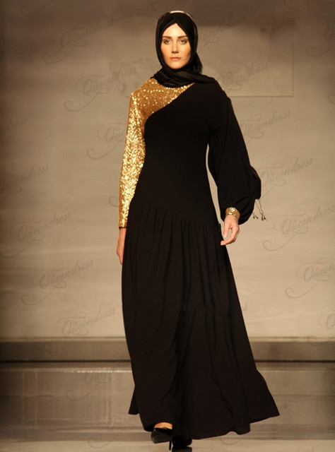 722d3de35ed80 Latest Design New Arrivals Fashion V-Neck Long Sleeve Black and Gold Color  Muslim Evening Gown 2014 Abaya Jilbab Kaftan Dubai