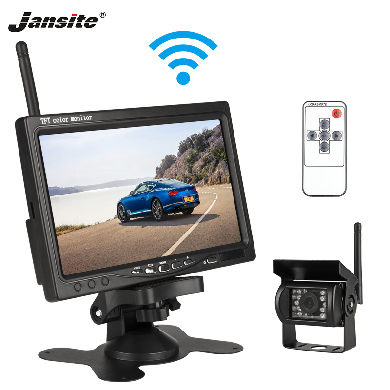 "Jansite 7""  Wireless Car Monitor TFT LCD Car Rear View Camera HD Monitor For Truck Camera Support Bus RV Van DVD Reverse Camera(China)"