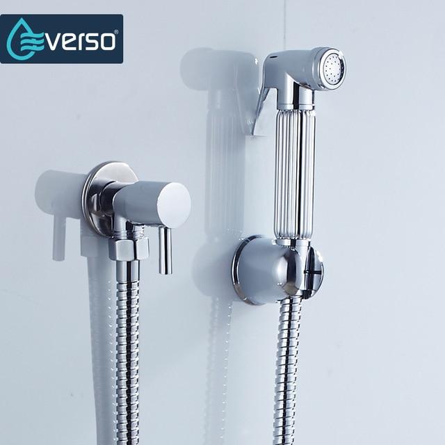 EVERSO Badezimmer Bidet Wasserhahn Set Dusche Bidet Wc Sprayer  Zink Legierung Bidet Wasserhahn Halter Douchette