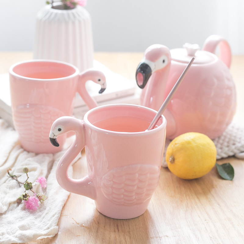 Belle ins fille cerise pollen 3D céramique flamingo théière tasse créative en céramique flamingo main tasse lait café thé tasse