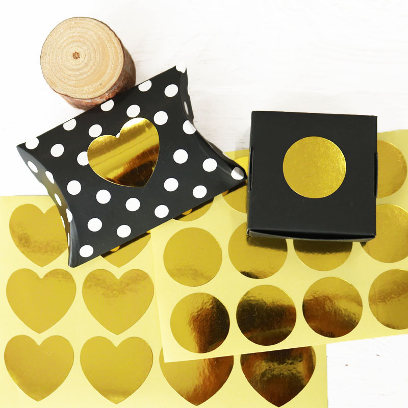 120Pcs 2019 Gold Blank Heart Round Circle Cake Packaging Sealing Label Kraft Sticker Baking DIY Gift Stickers M1413