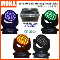 4PCS/LOT 320w Led Moving Zoom Head Light With Free Flight Case 36*18w Wash Stage Disco Professional DMX Effect Light