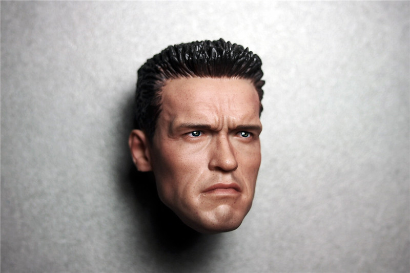 1/6 Arno Arnold Schwarzenegger Head Terminator 2 T800 Head Commando Tactical Version for Hot Toys Figure Body. ...