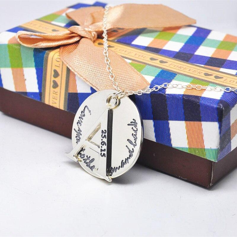 925 argent massif gravé écriture disque collier pile lettre timbre Date personnalisé mémoire bijoux
