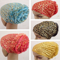 hijab cap headwrap bonnet with golden prints inner khaleeji hijab scarf back close 9 colors 12pcs/lot free ship