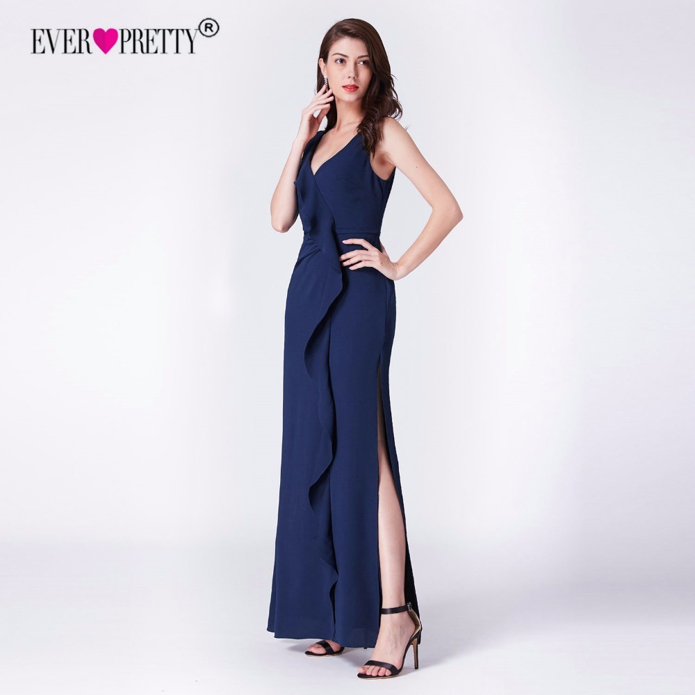 Sexy Prom Dresses 2019 Ever Pretty Backless New Arrival Navy Blue A line V neck Long