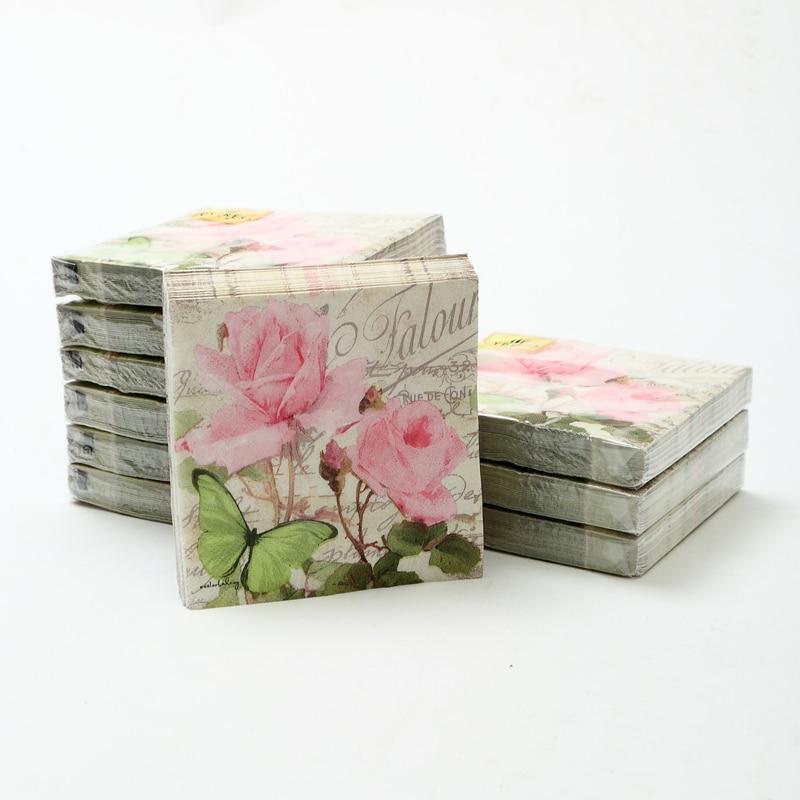 Cocktail paper napkins-20pcs 25x25cm 3-ply pink flower paper napkins for wedding paper serviettes for decoupage napkin-4NC5233B