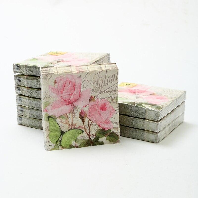 Cocktail papier napkins-20pcs 25x25 cm 3-ply rose fleur de serviettes en papier pour le mariage serviettes en papier pour découpage napkin-4NC5233B