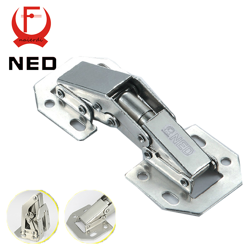 2PCS NED-A100 4 Inch 90 Degree No-Drilling Hole Cabinet Hinge Bridge Shaped Spring Frog Hinge Full Overlay Cupboard Door Hinges 2pcs 90 degree concealed hinges cabinet cupboard furniture hinges bridge shaped door hinge with screws diy hardware tools mayitr