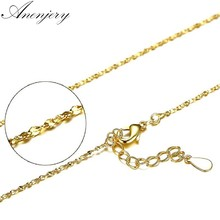 Anenjery 925 Sterling Silver Necklace 40cm+4cm Yellow Gold Color Twisted Singapore Chain Necklace For Women collares S-N180(China)