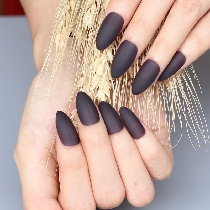 24pcs The Latest Fashion Long Pointed Candy Colors False Nails Matte