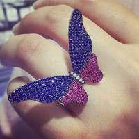 GODKI Nieuwe Collectie Fashion Luxe Volledige Mirco Pave Zirconia Engagement Vlinder Verstelbare Ring