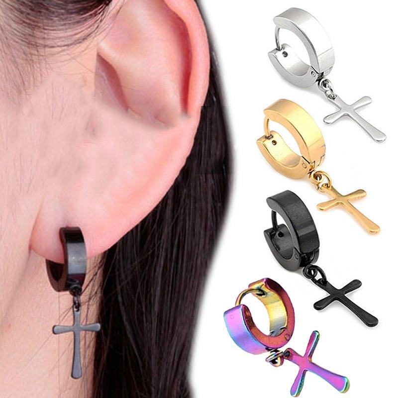 1 Pair Punk Titanium Steel Stud Earring Men Cross Earrings Fashion Tassels Crosses Ear Piercing Jewelry M576 @ KQS