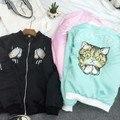 2016 primavera HARAJUKU suave rosa departamento de bordado gato béisbol bomber jacket women coat