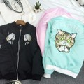 2016 spring HARAJUKU soft pink department of embroidery cat baseball bomber jacket women coat