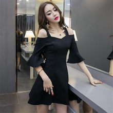 Bretelle bretella del vestito mini vestito sexy flare manica del Vestito  nero rosso stile Britannico per laureati delle signore . 93c573429d6