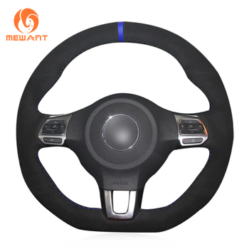 MEWANT Black Suede Real Leather Steering Wheel Cover for Volkswagen Golf 6 GTI MK6 VW Polo GTI Scirocco R Passat CC R-Line 2010