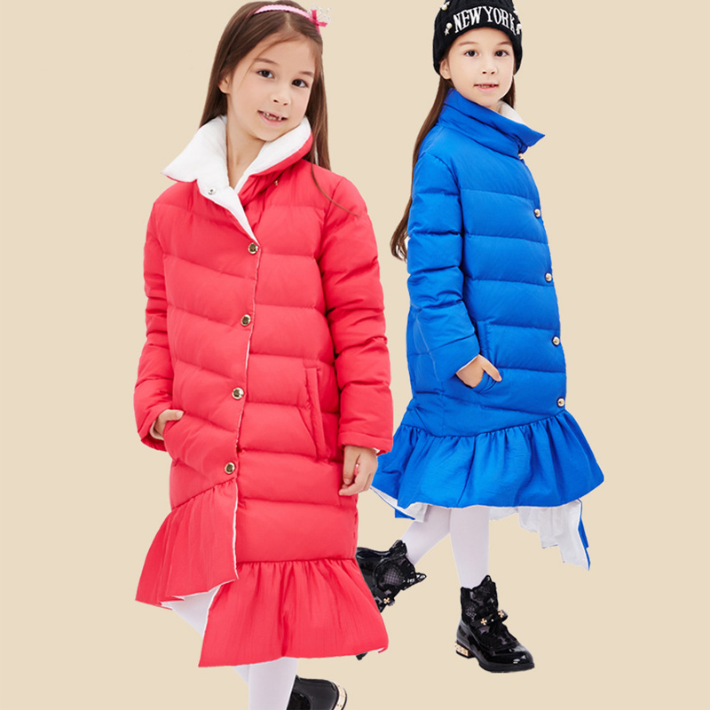 2016 Fashion Girl's Winter Jacket Down Jackets Coats Long Warm Kids Girls Thick Duck Down Coat Children Outerwear Size 120-160 kids clothes children jackets for boys girls winter white duck down jacket coats thick warm clothing kids hooded parkas coat