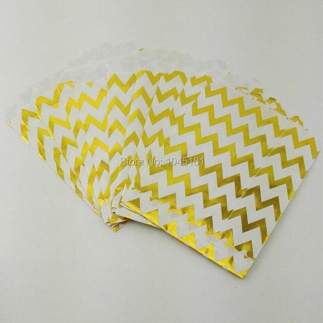 Chevron Dot listrado metálico brilhante ouro sacos de papel do partido de casamento Kids Birthday Party Favor doce embalagem de presente bolsas 50 pçs/lote