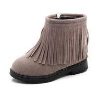 New Girls Ankle Boots Kids Winter Autumn Children Fashion Fringe Fur Leather Snow Boots Princess Flat