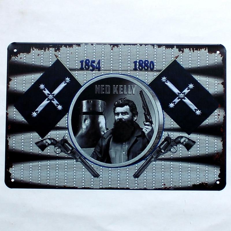 Ned Kelly Metal Movie Painting Tin Tanda Gambar Dinding untuk Hotel - Hiasan rumah - Foto 6