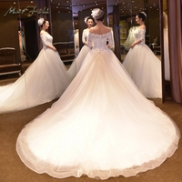 Marfoli Luxury Wedding Dresses 2018 With Lace Beads Ball Gown White/Ivory Half sleeve Bridal Gown Real Photo Custom Size WD14185