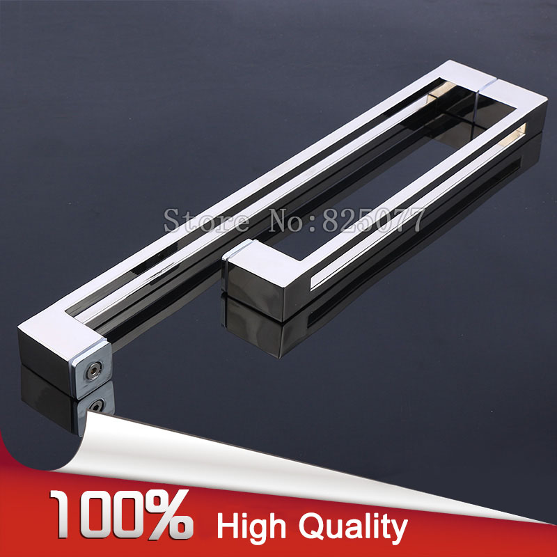 Shower Door Square tube double line L type handle 304 stainless steel polish chrome glass door handle C-C:425*225mm JF1220