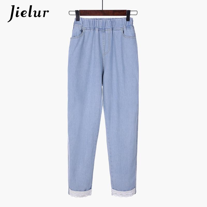 Jielur Chic S-5XL Kawaii Lace Denim   Jeans   Mujer 2019 Korean Brief Blue   Jeans   High Waist Elastic Fashion   Jeans   Plus Size Dropship
