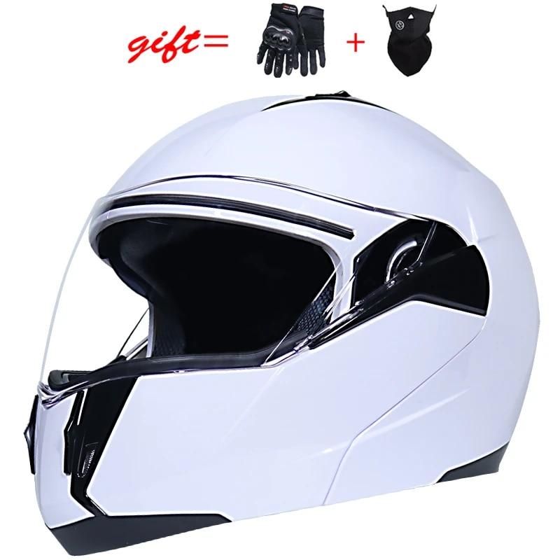 Flip Up Motorcycle Helmet Double Lens Full Face Modular Moto Helmet DOT Approval
