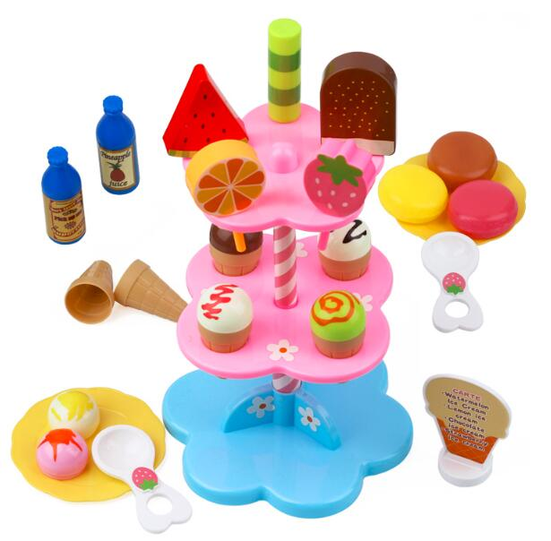 Toys & Hobbies Pretend Play Diy Kitchen Food Plastic Toy Large Assortment Pretend Play 22pcs/set Kitchen Toy Ice Cream Children Kids Baby Early Educational Classic Ages 3