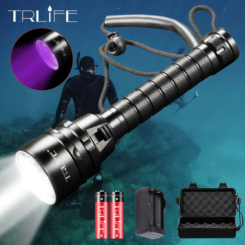 LED Scuba Waterproof LED Diving Flashlight 5L2 5UV Flash Light Lantern Torch 200M Underwater Purple White Light Ultraviolet