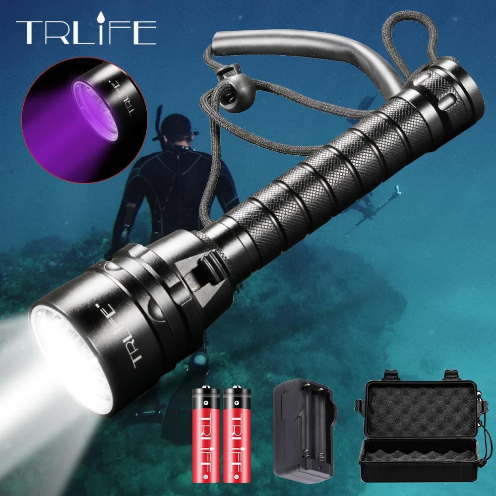 LED Scuba Waterproof LED Diving Flashlight 5L2 5UV Flash Light Lantern Torch 200M Underwater Purple White Light Ultraviolet
