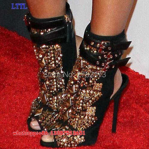 ФОТО LTTL design women embellished studs ankle booties peep toe slingback lady high heels boots shoes spring autumn sandal boots