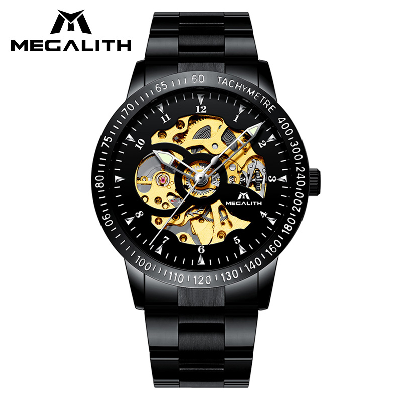 MEGALITH Top Luxury Brand Mechanical Watch Men Military Sport Waterproof Men's Watch Automatic Hollow Wrist Watch For Men Clock цена