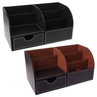 7 Storage Compartments Multifunctional Leather Office Desktop Organizer Business Card Pen Pencil Mobile Phone Holder Stationery