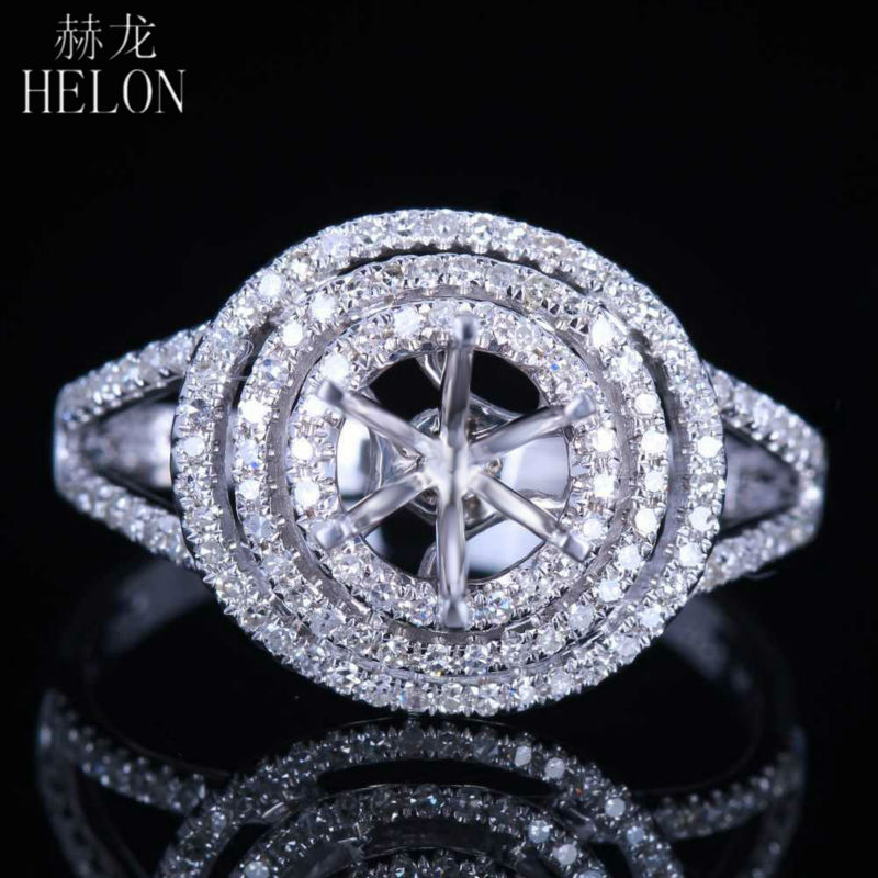 HELON Brilliant,Solid 14K White Gold 6.5mm Round 0.35ct Diamond Semi Mount Engagement Wedding Ring,retail and wholesale trade
