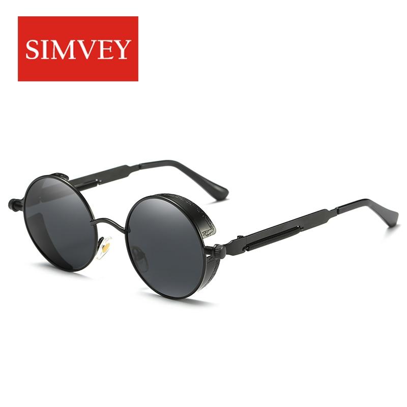 Simvey Fashion Brand Designer Steampunk sluneční brýle Vintage Retro Muži Ženy Kulatý kovový rám Polarizované sluneční brýle Oculos De Sol