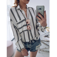 New Striped Blouse Women Loose Fit Long Sleeve Shirt Marine Stripes Fashion Top All Match New