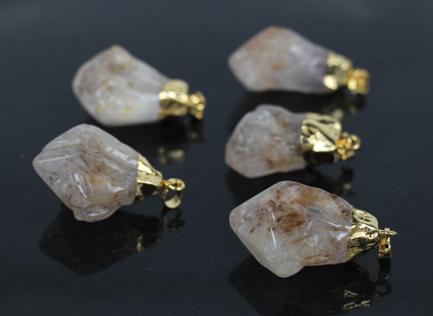 5Pcs/Lot,Raw Ore Crystal Quartz Druzy Rough Nugget Pendant,Raw Crystal Stone Geode Gems  ...