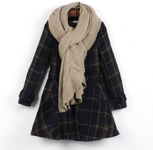 2016 Fashion Women Coat Winter British Style Plaid Middle Long Female Overcoat Woman Wool Coat Women Jacket
