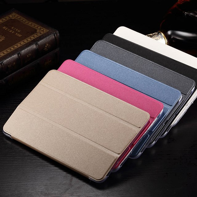 3 Folded Popular silk PU Leather Book stand holder smart Cover transaprent back Case for samsung GALAXY Tab A 9.7 T555 T550