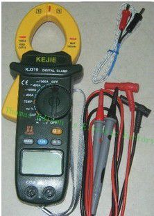KJ319 KJ319T Digital Clamp Meter Backlight / Voltmeter/ammeter/frequency / resistance / capacitance / temperature/ measurement vc99 auto range 3 6 7 digital multimeter 20a resistance capacitance meter voltmeter ammeter alligator probe thermal couple tk