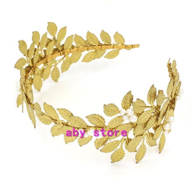 Hojas de oro de La Boda Joyería Tiara de La Perla Nupcial Del Pelo Accesorios de Las Mujeres de la Vendimia Hairband Celada