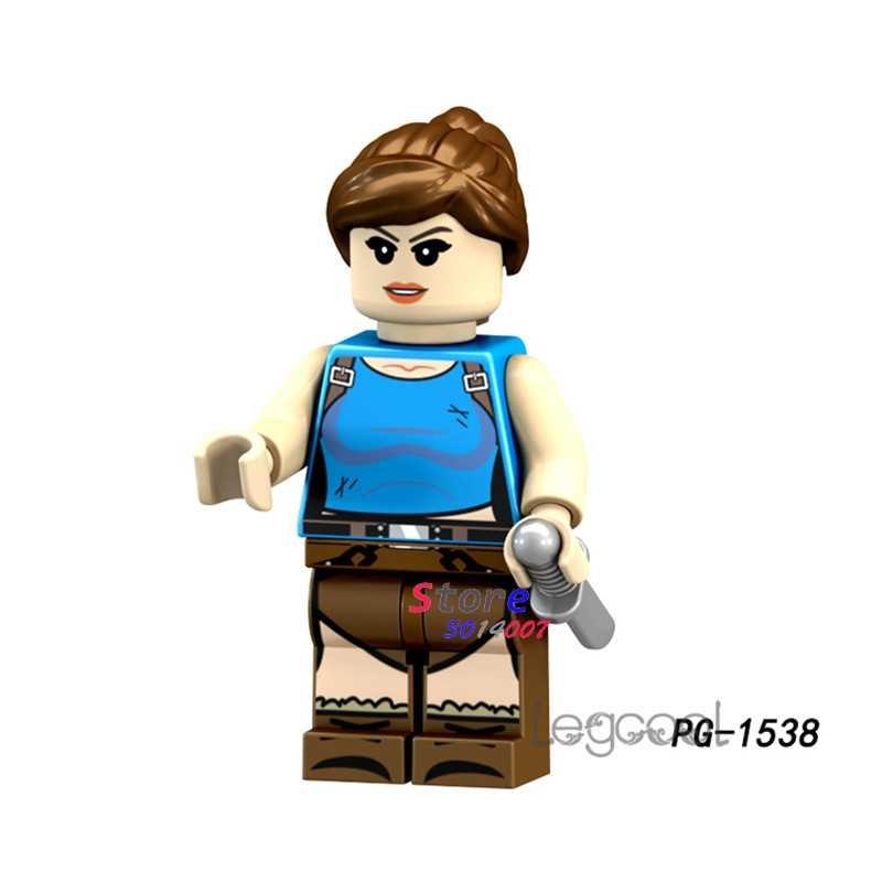 1 piezas de bloques de construcción de acción superhéroes Lara Croft Navidad hobby juguetes niñas diy juguetes para niños de regalo