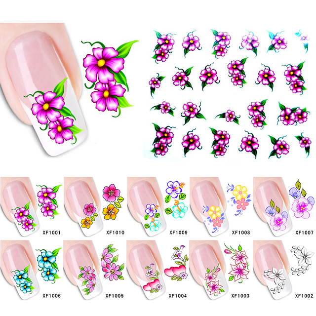 Beauty Designs Water Transfer Nail Art Sticker Decals New Flower Diy French Tips Mixed