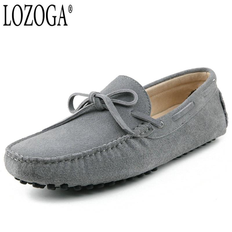 LOZOGA мужские кожаные ботинки повседневная обувь Лоферы ручной работы роскошные скольжения на плоской подошве Ман драйвер обувь дышащие лет...